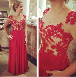 Red Chiffon Prom Dresses Sheer Jewel A line Appliques Sleeveless Floor Length Party Evening Dress Custom made