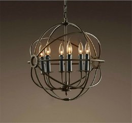 Wholesale RH Lighting Restoration Hardware Vintage Pendant Lamp Foucault s Iron Orb Handelier Rustic Iron RH Loft Light cm cm cm Black Iron rust