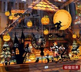 Wholesale Halloween Pumpkin Bat Haunted House Removable Blackboard D Wall Sticker Home Shop Mural Art Vinyl Wallpaper Glass Window Decoration Decals