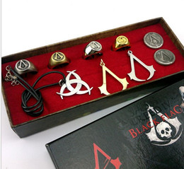 Wholesale assassins creed ring necklace jewelry set Deiss mond decorations brooch bracelet skeleton ghost head badge assassin creed cosplay with box