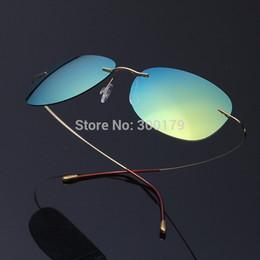 Wholesale-Unisex UltraLight Titanium Rimless Mirror Polarized Sunglasses Sonnenbrille occhiali da sole gafas de sol Oculos de sol feminino