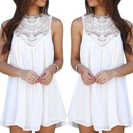 Wholesale Women s Girl s Casual Vintage A Line Dress Short Skirt Tops Chiffon Lace Crochet Sleeveless Including Asia S XXL Size ED233
