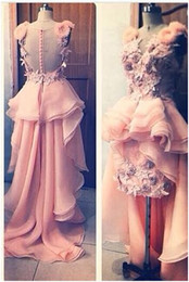 2015 Coral Prom Dresses Sheer Sheath HI LO Beach Cocktail Dress with Peplum and 3D Flowers and Tiered Train Covered Buttons DHYZ 01