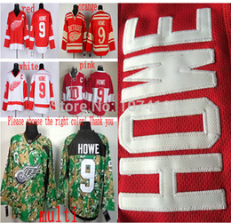 Free Shipping,Cheap Wholesale Gordie Howe Hockey Jersey Best Quality Red White #9 Gordie Howe Jersey HOT Sale