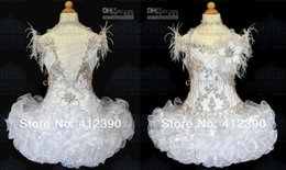 Free shipping New White Organza Above knee Mini Ball gown Crystals Halter feather Cupcake Girl's Pageant Dresses Infant Toddler Dress