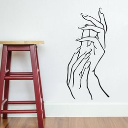 Wholesale Nail Hands Art Beauty Shop Store Business Wall Art Stickers Decal DIY Home Decoration Wall Mural Removable