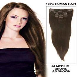 Compra Online Resistente para el cabello de calor-¡18 colores !!! 100g Clip de pelo humano 16-28inch en extensiones del pelo Cabello recto Resistente al calor Pieza de pelo Extensión de pelo natural