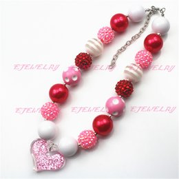 Pink Heart Pink&Red 20mm chunky Beads Children Girls Bubblegum Chunky Necklace Valentines chunky Necklace CB542