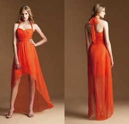 Front Short Long Back A Line Halter High Low Bridesmaid Dresses Custom Made Any Color Or Size Orange Bridesmaid Dress 2015