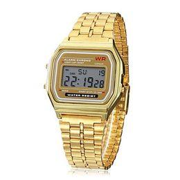 Wholesale Hot sale New Brand Designer Men Full steel military watches golden fashion led digital F W g ift sport shocks resistant Watch
