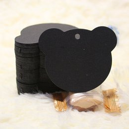 Wholesale Bear shape Black Kraft Paper Tags Price Bookmark Garment Labels