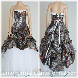 Real Picture 2015 Camo Camouflage Wedding Dresses Lace-up Back Bridal Dresses Unique Realtree Partten with White Tulle Wedding Gowns