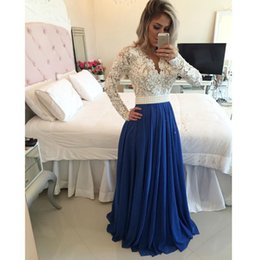 2016 New Long Sleeves Dresses Evening Wear V-Neck Lace Top Pearls Beaded Royal Blue Chiffon Prom Gowns Plus Size Womeng Formal Party Dress