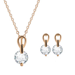 Wholesale-Party Wedding Round Jewelry Sets Necklace Earrings18K Rose Gold Plated Women Round Pendant Necklace CZ Diamond Crystal jewelry