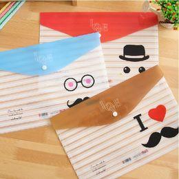 Wholesale Cute Office A4 Files Bag Mustache School Test PVC A4 Documents Folder Stationery Filing Production ARC1072