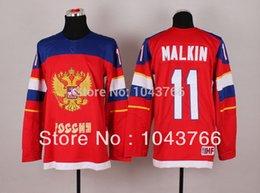 Deportivo de fábrica 2014 Evgeni Malkin Rusia Jersey Equipo de Sochi Rusia Camiseta de hockey cosida Ruso 11 Evgeni Malkin Hockey olímpico Je supplier russia olympic jersey desde maillot olímpico rusia proveedores