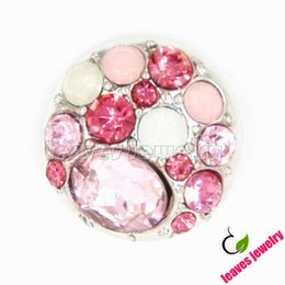 Wholesale Almost a love story pink theme big rhinestone metal snap button snap jewelry buttons for diy snap jewelry bracelet or necklace