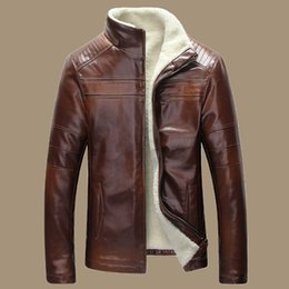 Wholesale Fall New Winter Warm Mens Genuine Leather Jacket Men Retro Brown Sheepskin Fur Coat Man Wool Liner Shearling Jackets and Coats
