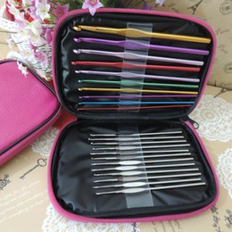 Wholesale 22 Pieces Crochet Hook Set Weaving Tools Aluminum Alloy Silver Metal Crochet With Leather Case Wonderful Gift