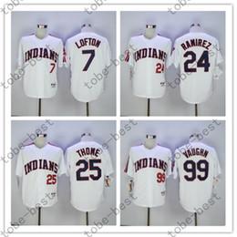 Wholesale 7 KENNY LOFTON Manny Ramirez Jim Thome Ricky Vaughn Indians Jersey Vintage