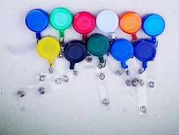 Wholesale Elastic ID badge volume certificate button ID holder name tag card key Badge Reels Round Solid Plastic Clip On Retractable pul