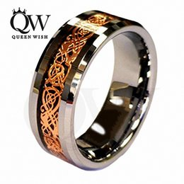 Mens Engagement Rings Infinity Wedding Rings Jewelry 18K Rose Gold Plated Celtic Dragon 8mm Tungsten Carbide Wedding Band Ring Men's Jewelry