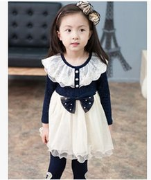 2015 Childrens Spring Long Sleeve Mini Straight Dress Lady Style New Baby Girls Pearl Lace Collar Dress high quality