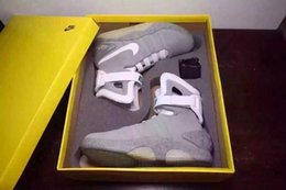 Wholesale withFree bracelet EMS Free BOX Air Mag glow in the dark back to the future Gray shoes top quality gym shoes