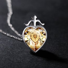 Wholesale Long Swarovski Necklace - Zodiac Crystal Pendant Necklace Pendants Long Section of The Women's Korean Jewelry Swarovski Elements Jade Jewelry Necklaces for Women