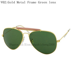 Wholesale 20pcs Top quality Mens Designer Outdoorsman Sunglasses Women Gold Frame Greem Sun Glasses mm For Box And Case