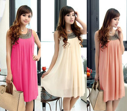 Free Shipping 2014 Graceful Summer Maternity Clothes Black Beads For Pregnant Women Sleeveless Dress LQ4743