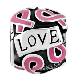 Breast Cancer Awareness Ribbon Hope Love European Charm Beads in Rhodium Plating Fits Pandora Bracelets