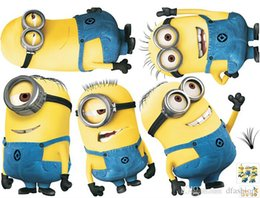 Wholesale Despicable Me Minion Wall Stickers Removable Home Decor Decals Sticker Wallpaper Rolls Party Decoration Best Christmas Gifts for Kids