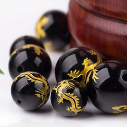 Wholesale Natural black agate beads loose Carved dragon waist beads rosary beads Necklace bracelet DIY Accessories Fashion Gift
