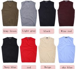 Free shipping sweater vest, men's V-neck solid color wool vest. Seasons In Stock. (M87)