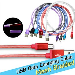 Wholesale Universal M ft Aluminum Metal Mesh Braided USB Data Sync charging steel pin Micro V8 port USB Charger Cable for Samsung