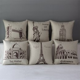 Wholesale The World s Great Art Architecture Pattern Pillow Cover Home Decorative Pillowcase Cotton Linen Scenery Sketch Print