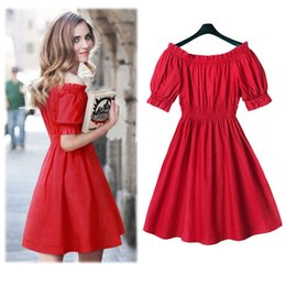 2016 Plus Size Dresses For Women Fashion Slash Neck Short Sleeves Waisted Red A Line Mini Dresses Wholesale Free Shipping 1426