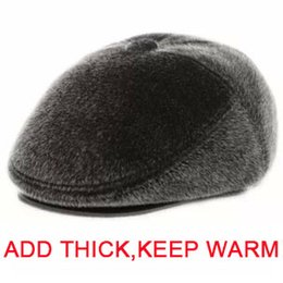 Wholesale-New winter men High-grade faux imitation mink fur earmuffs grandpa leather hat man warm outdoor middle-aged and old fur hat cap