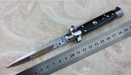 Wholesale New AKC Italian Stiletto Knife Classic style Side open Steel blade Plain Aleck black ox horn microtech karambit knives
