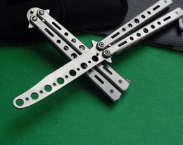 Wholesale New High quality Practice Balisong Butterfly Knife Style Hole Shape Metal Trainer Tool Cool Sports K012 Silver