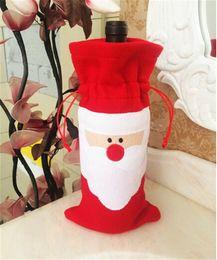 30pcs HOT best price 32*13cm Santa Claus Red Wine Bottle Cover Bags Christmas Table bottle bag Party Supplies D388