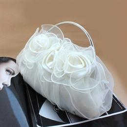 Women's Satin Flower Design Clutch Bag Sparking Chain Shoulder Bag Wedding Party Clamshell Handbag hb263