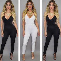 2017 New arrive women Jumpsuits deep V-Neck fashion sexy women Rompers Straps Backless women pants Cross back Jumpsuits black