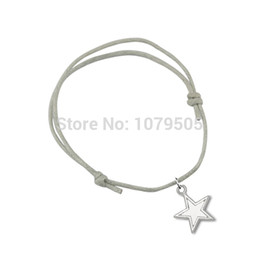 Wholesale 50pcs Can Wear Mixed Color Antique Silver Plated Dallas Cowboys Football Team Logo Star Charms Wax String Bracelets For Men