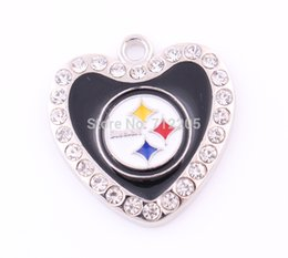 Wholesale Fans Boutique Collection a enamel Hearts Steelers with clear crystal football Pendant heart jewelry