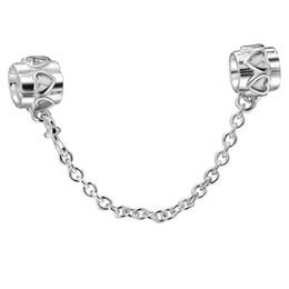 Coeurs Argent 925 Perles de sécurité 4mm Chain Spacer initiale pour les bijoux Charms femmes Chain Pandora DIY Bracelet européenne / Bangle à partir de bracelets de charme initiales fabricateur