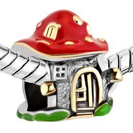 10pcs per lot Red Enamel Mushroom House Family Lucky European Charm Spacer Metal Bead Fit Pandora Bracelet