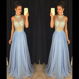 Prom Dresses 2016 Pageant Dresses Wedding Long Dresses Party Evening Gowns High Neck Chiffon Beading Sexy Formal Dresses with Rhinestones