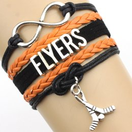 Wholesale Infinity Love Flyers Hockey Sports Team Bracelet black orange wristband Customize friendship Bracelets